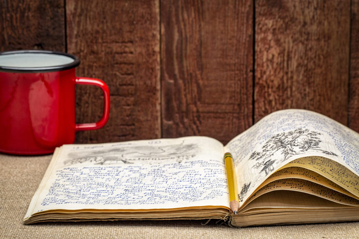 closeup of mug and journal with writing and drawings - pandemic - anxiety