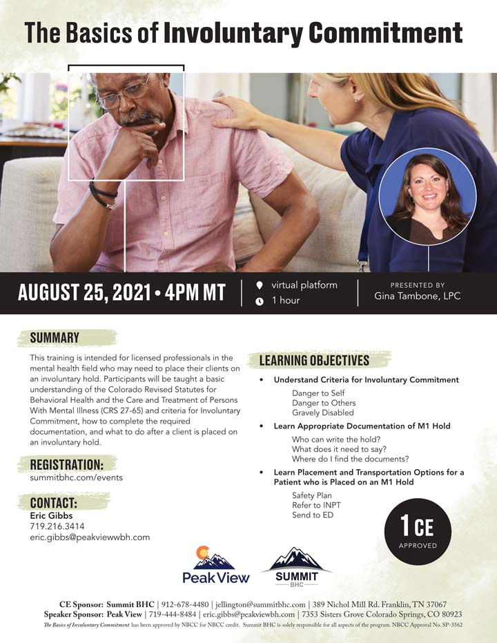 The Basics of Involuntary Commitment - Webinar - August 25, 2021