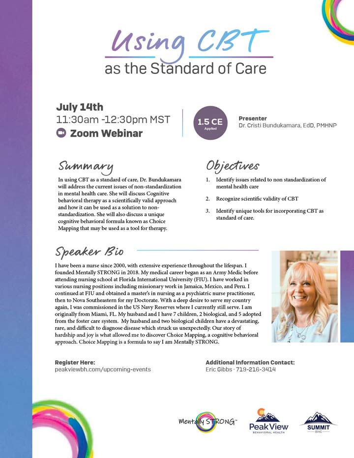 Using CBT as the Standard of Care - Webinar - July 14, 2021