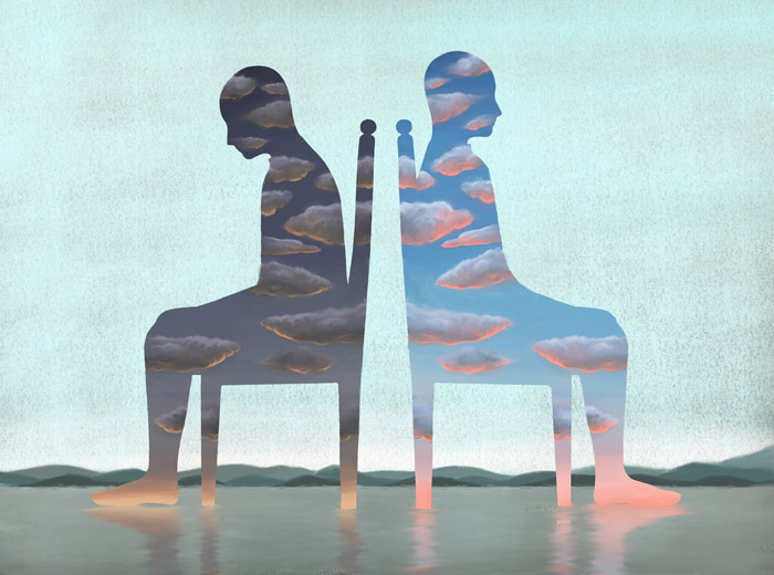 painting of two silhouettes of people sitting back to back in chairs - Bipolar disorder